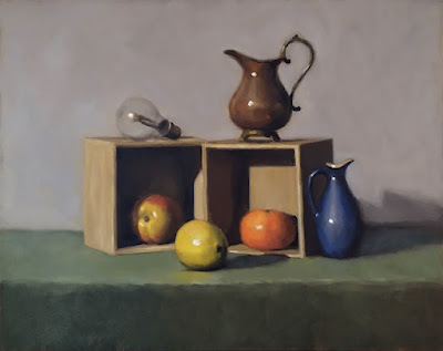 Still life oil painting of a lemon, an apple in a box, a mandarine in a box, a lightbulb and two jugs.