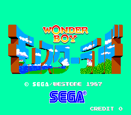 Pantalla de título del Arcade de Westone: Wonder Boy in Monster Land (1987)