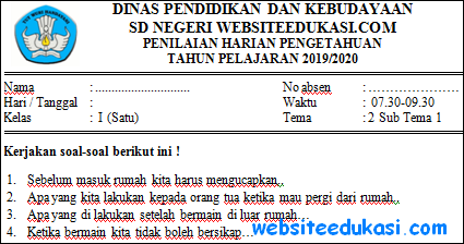 Soal PH Kelas 1 Tema 2 Subtema 1