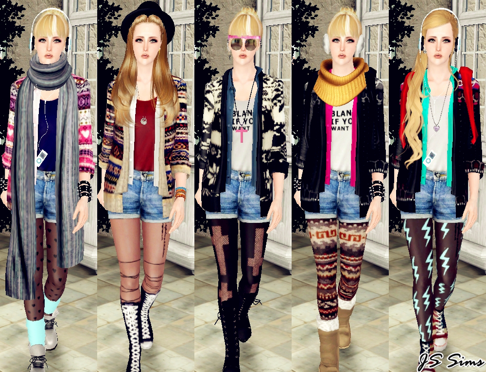 Js Sims 3 Layered Cardigan Outfit Set Outerwear Move