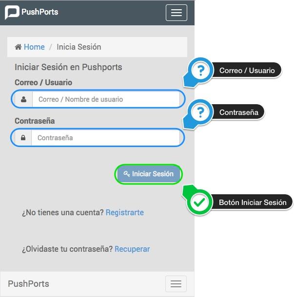 Iniciar sesión en pushports versión web móvil