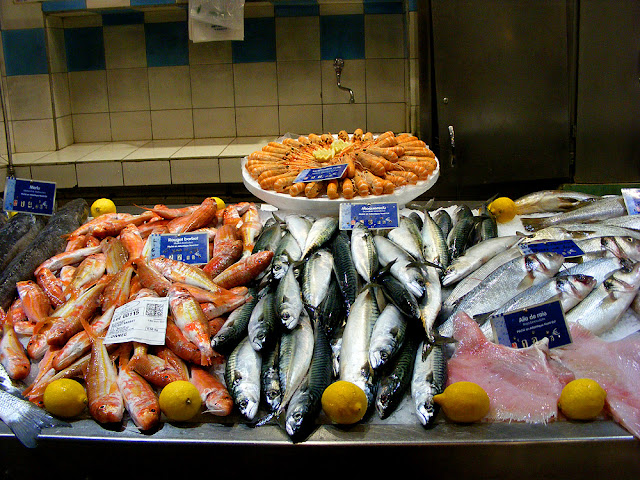 Hake, red mullet (Fr. rouget barbet), langoustine, mackerel (Fr. maquereau), sea bass, skate wing (Fr. aile de raie) at the fish market, Saint Jean de Luz. Pyrenees-Atlantiques. France. Photographed by Susan Walter. Tour the Loire Valley with a classic car and a private guide.