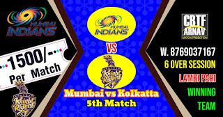 5th Match KKR vs MI IPL 2021 Today Match Prediction 100% Sure Winner