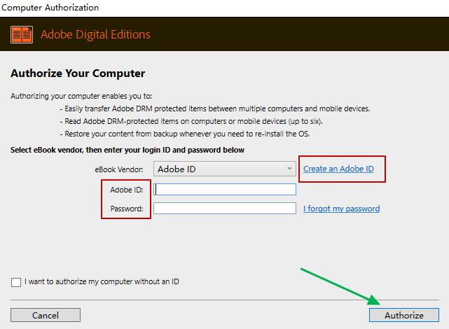 Authorisasi Adobe Digital Edition