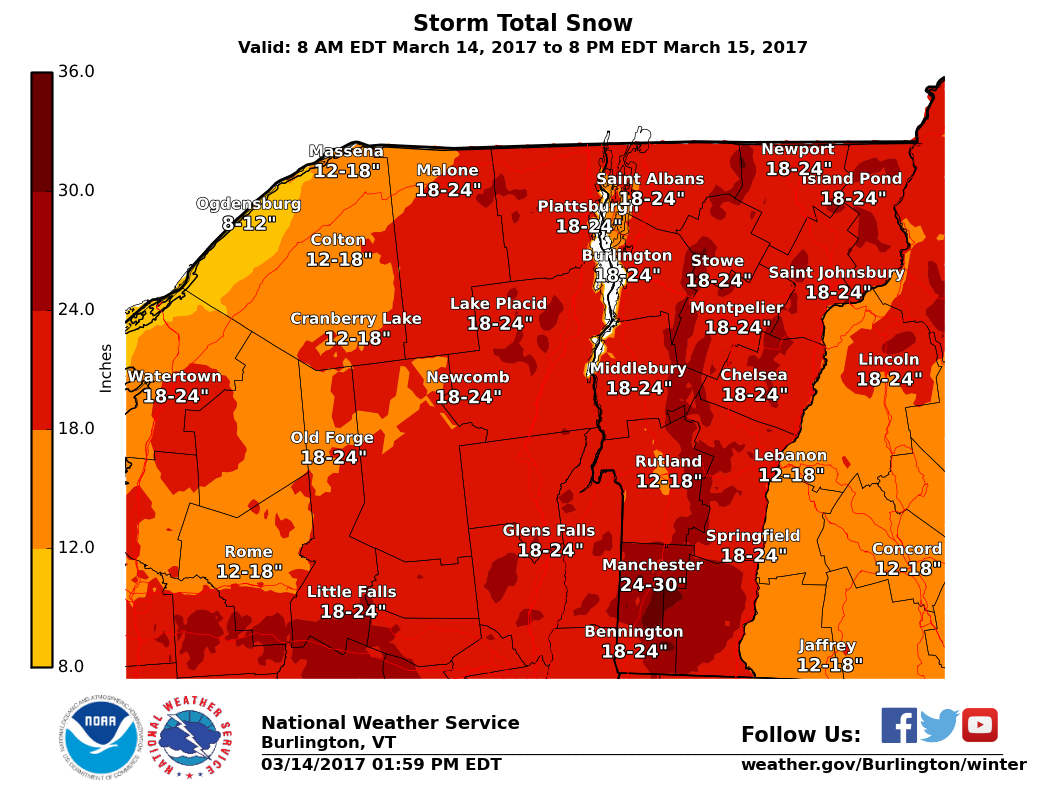 latest update from the national weather service in south burlington vermont has 18 24 inches total accumulations for all of vermont