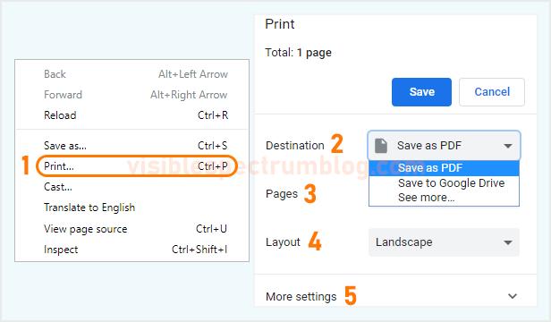 cara menyimpan tulisan di situs menjadi file PDF di laptop