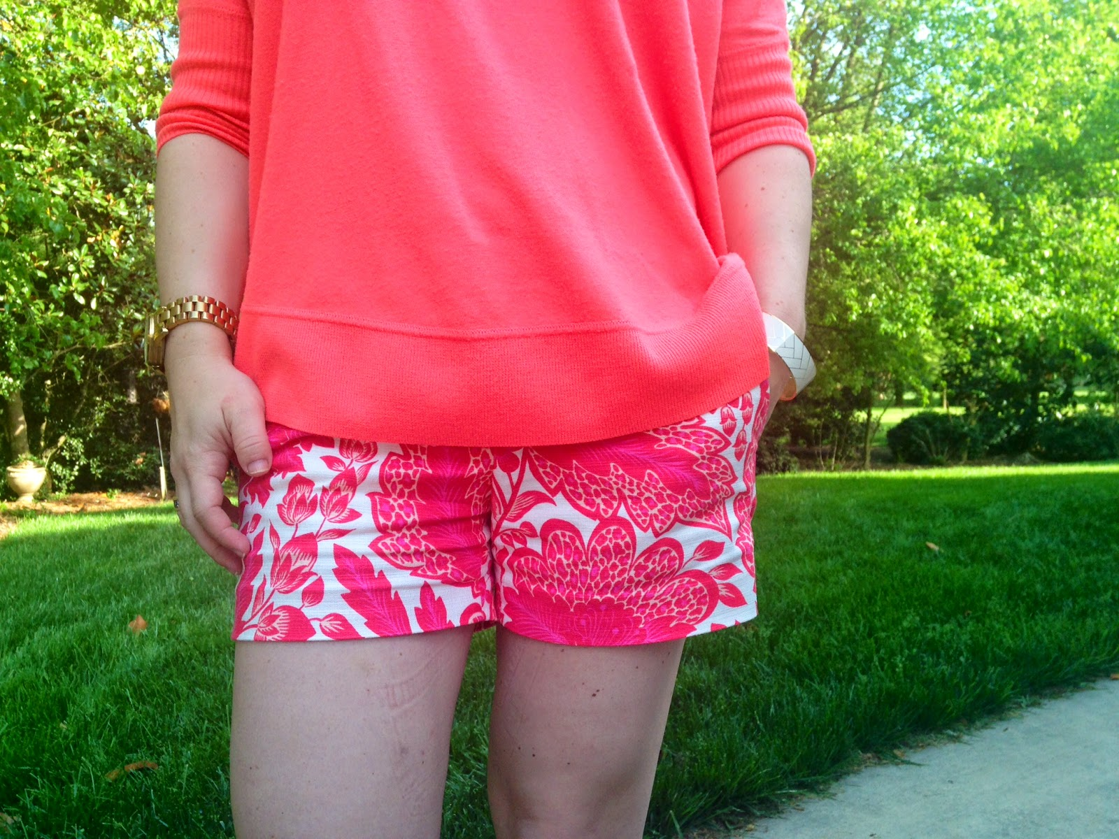Spring, Scroll print, JCrew Short, Swing Sweater, neon flamingo