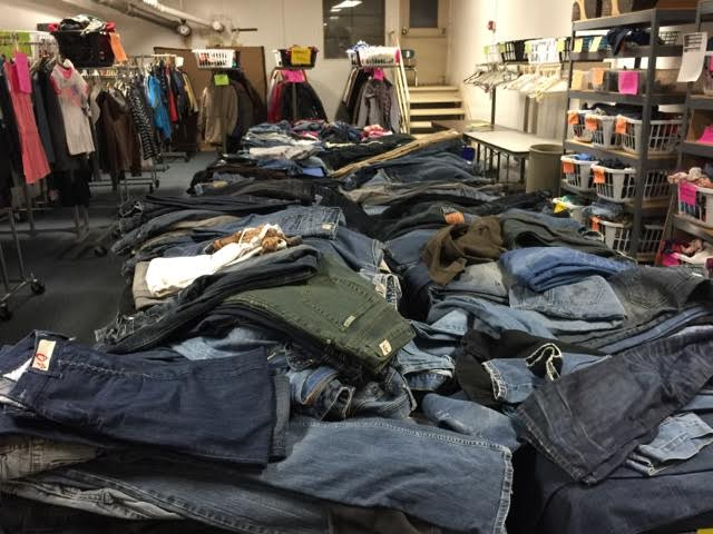 Donated jeans at PATH Palatine's Community Closet