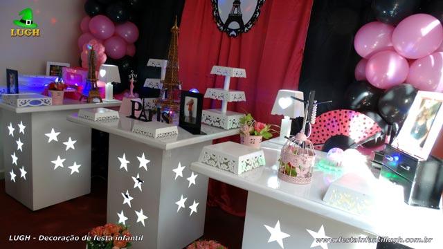 Decoração de mesa tema Paris provençal - Festa de aniversário feminino