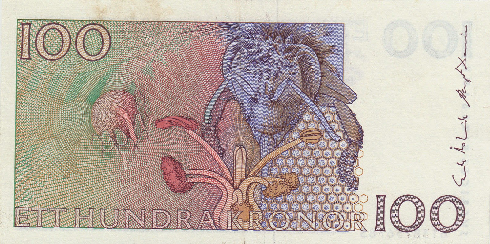 Sweden banknotes 100 Swedish Krona note, bee pollinating a flower