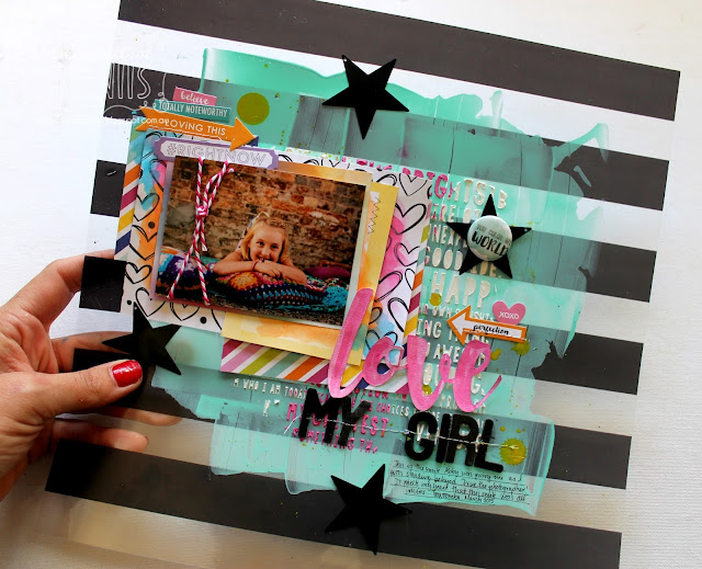 Love my girl layout by Bernii Miller using the Clique into Color kit.