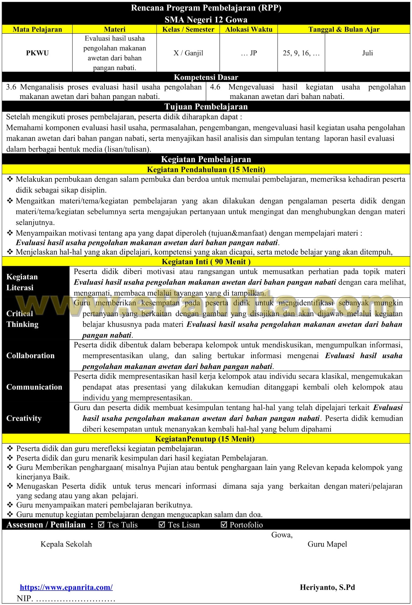 RPP 1 Halaman Prakarya Aspek Pengolahan (Evaluasi hasil usaha pengolahan makanan awetan dari bahan pangan nabati)