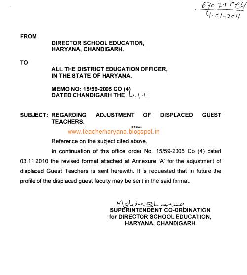 Guest teacher adjustment letter teacher haryana guest teacher adjustment spiritdancerdesigns Choice Image