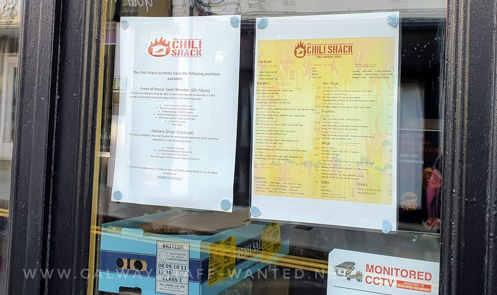 close up picture of the Chilli Shack Galway front window - including the menu and a staff-wanted sign