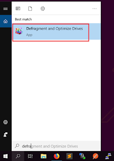 Ketik Defragment and Optimize Drive