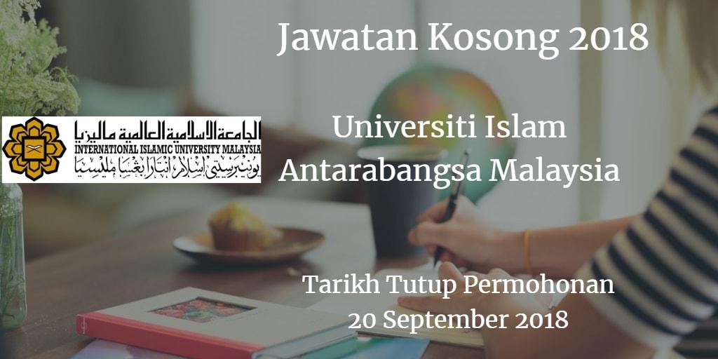 Jawatan Kosong UIAM 20 September 2018