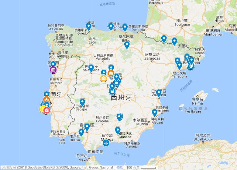 出發前作的功課,伊比利半島景點地圖