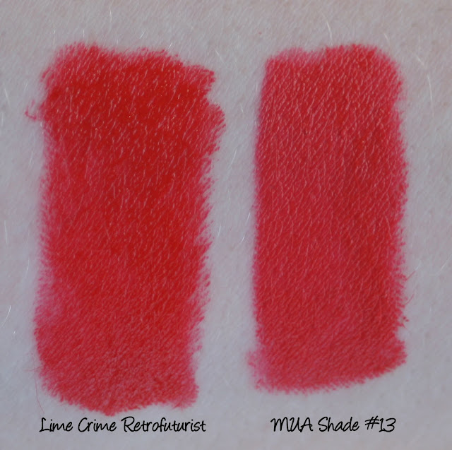 Lime Crime Retrofuturist and MUA Shade #13 Lipstick comparison