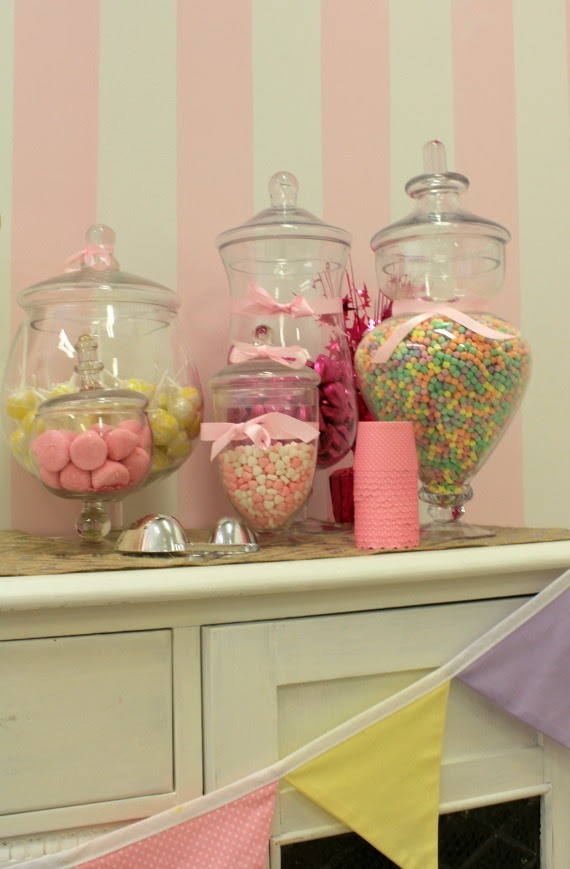 lolly buffet for kids birthday with vintage glass jars