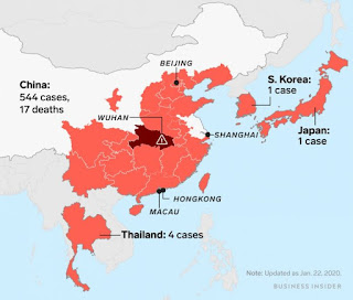 Peta Penyebaran Virus Wuhan Corona