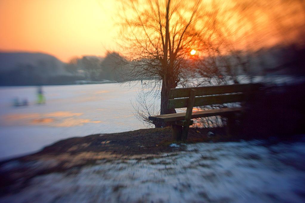 #234 Agfa Solinar M f2.8 30mm - Zugefrorener See im Sonnenuntergang