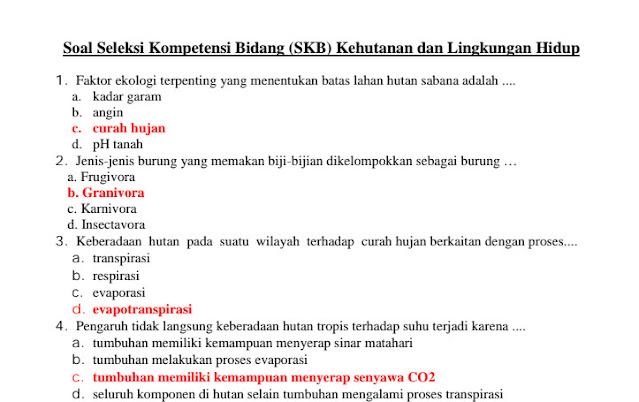 Contoh Soal SKB Kehutanan dan Lingkungan Hidup CPNS 2021 dan Kunci Jawabannya