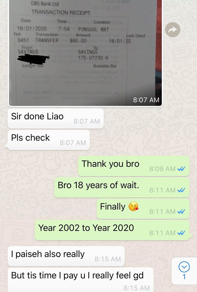 Guy expresses surprise when friend finally pays debt after 18 years