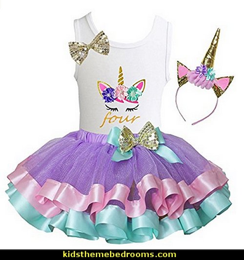 Lavender Pastel Satin Trimmed Tutu & Birthday Unicorn Tee