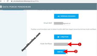 Masukkan kode verifikasi dan simpan