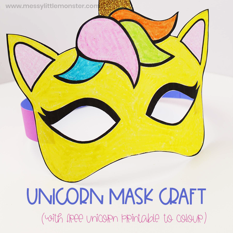 graphic regarding Printable Unicorn Mask referred to as Unicorn mask craft - Messy Minimal Monster