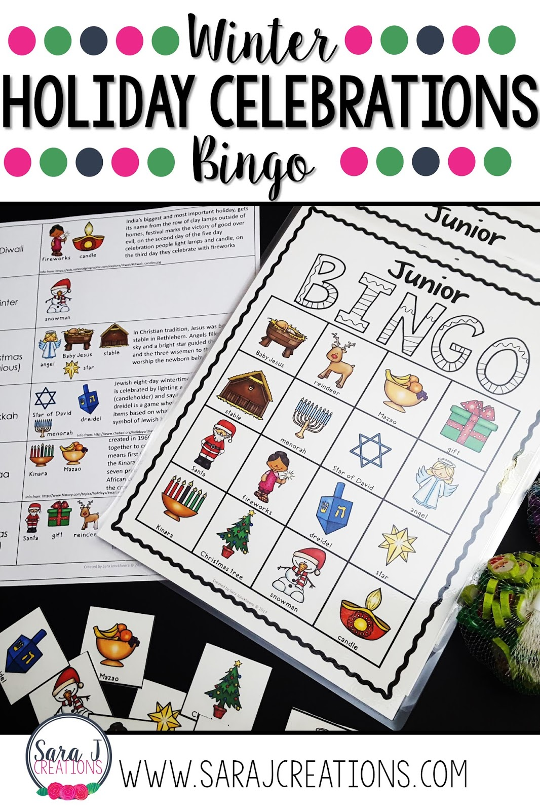 Holiday Celebrations Bingo includes pictures with words for winter holidays including Christmas, Kwanzaa, Hanukkah, Diwali and winter.A class set of games boards is included in color and black and white. Each board is different which makes this perfect to print and play! Perfect for your classroom holiday party!
