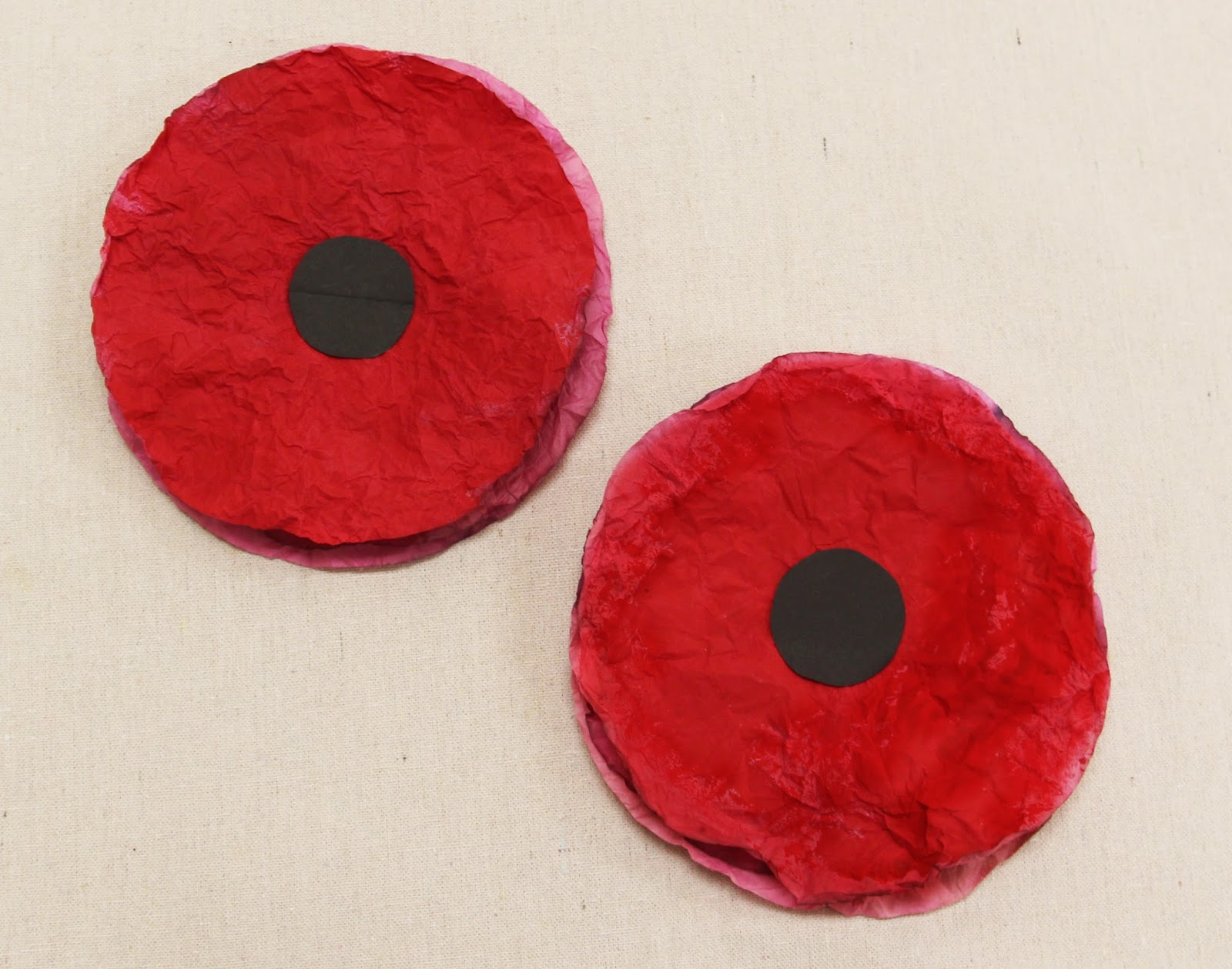 NAMC Montessor Rememberance Veterans Day Activities. Painted coffee filter poppies