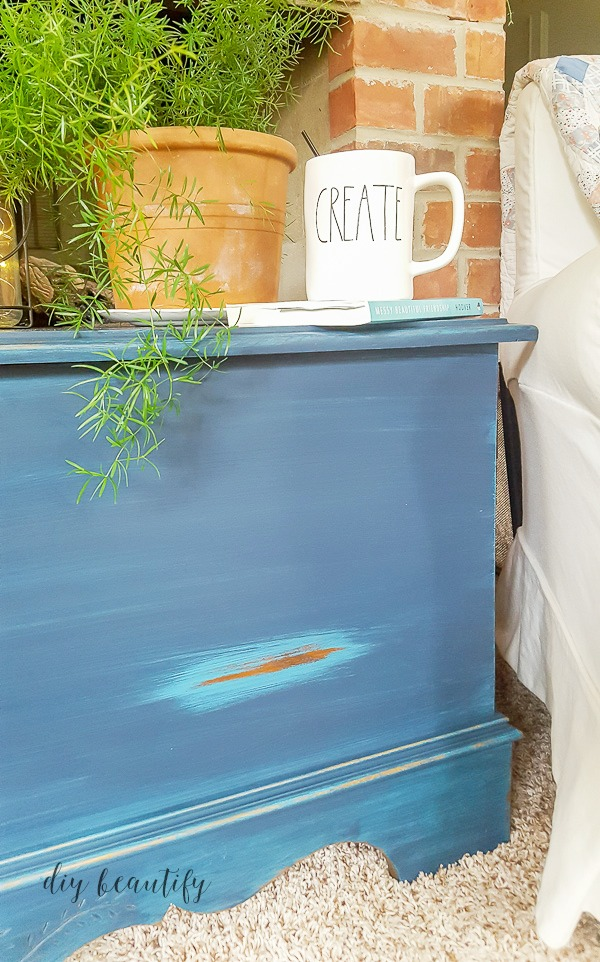 blue trunk with DIY glaze