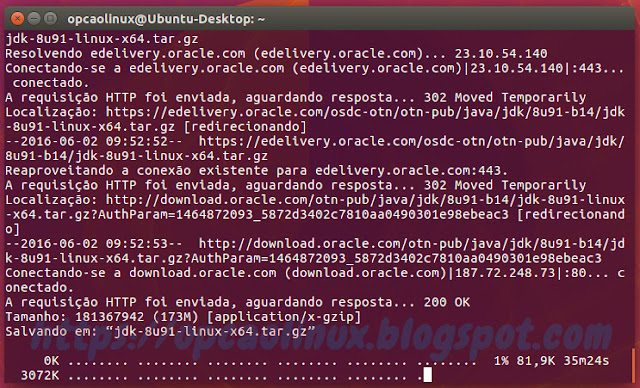 Aguardando o download do Oracle Java