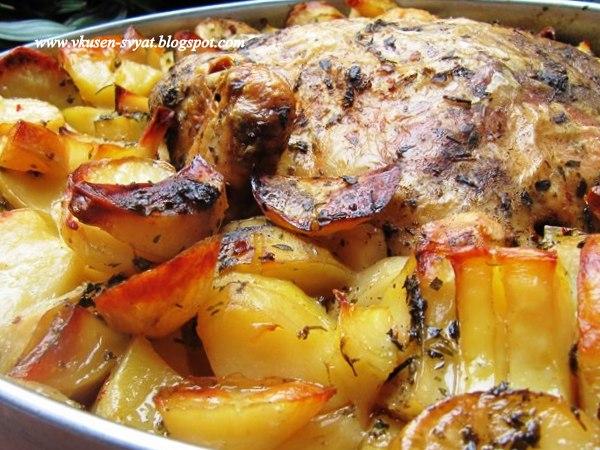 2-в-1 Мариновано пиле и хрупкави пикантни картофки на фурна / 2-in-1 Marinated Chicken and Spicy Crunchy Roasted Potatoes