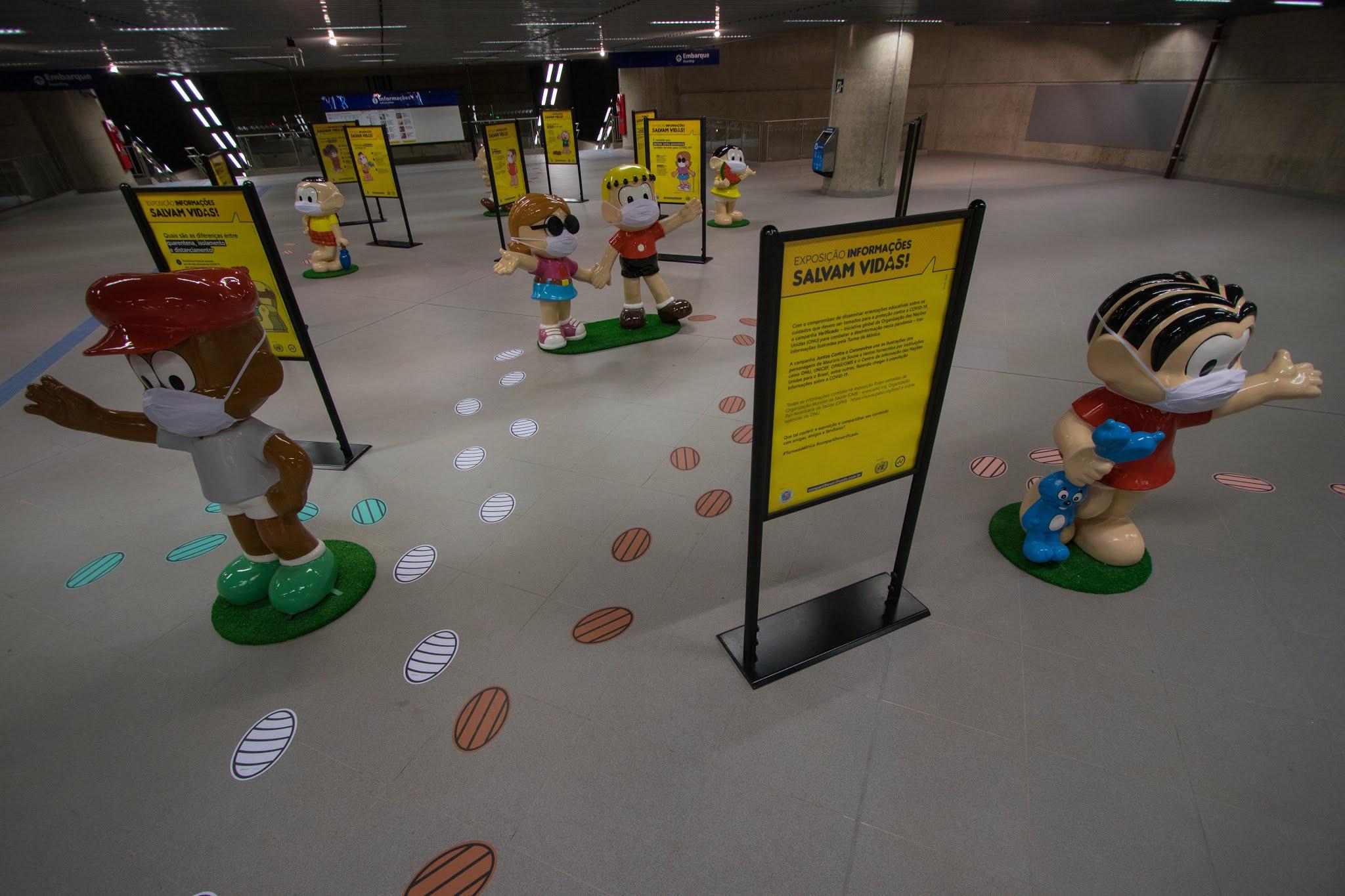 Exposição da Turma da Mônica e ONU no Metrô de São Paulo