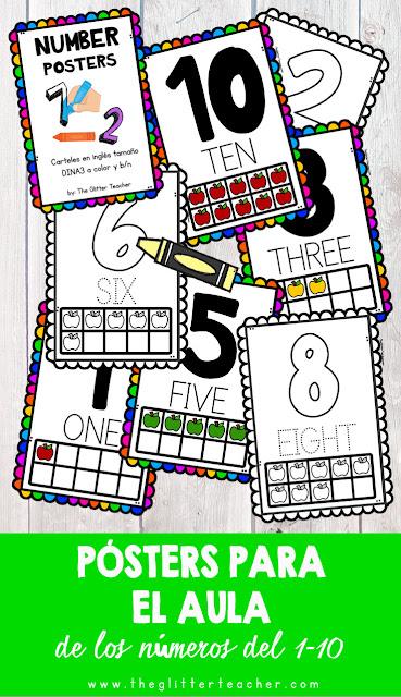 Pósters imprimibles para el aula de los números del 1 al 10 en inglés para descargar e imprimir
