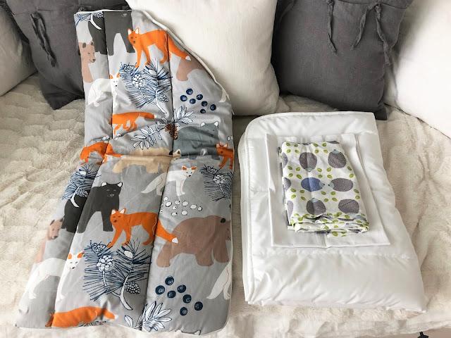 Äitiyspakkau 2019 makuupussi, peitto, pussilakana ja aluslakana