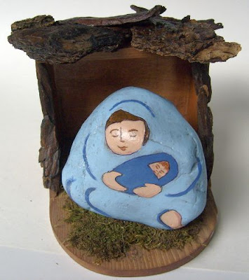 painted rocks, nativity scene figures, Cindy Thomas