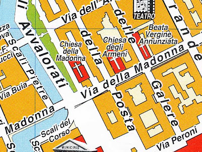 Churches of via della Madonna on a map, Livorno