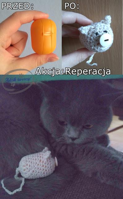 Akcja Reperacja u Adzika - zabawka dla kota DIY z recyklingu