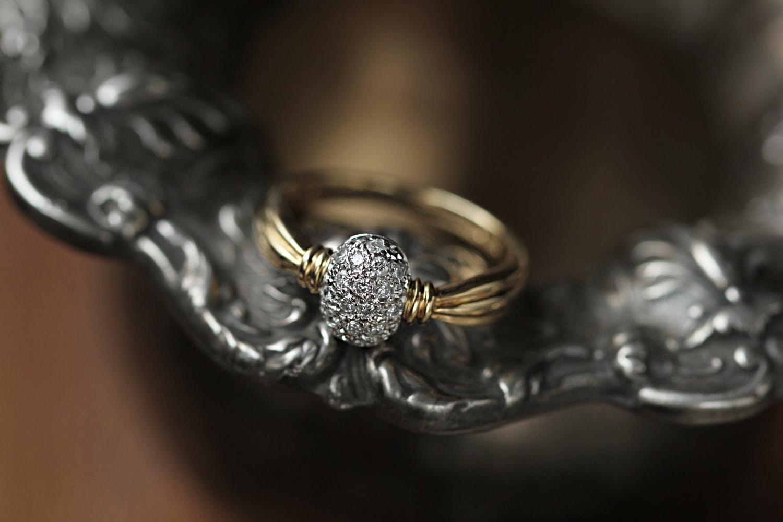 macro photo of gold ring