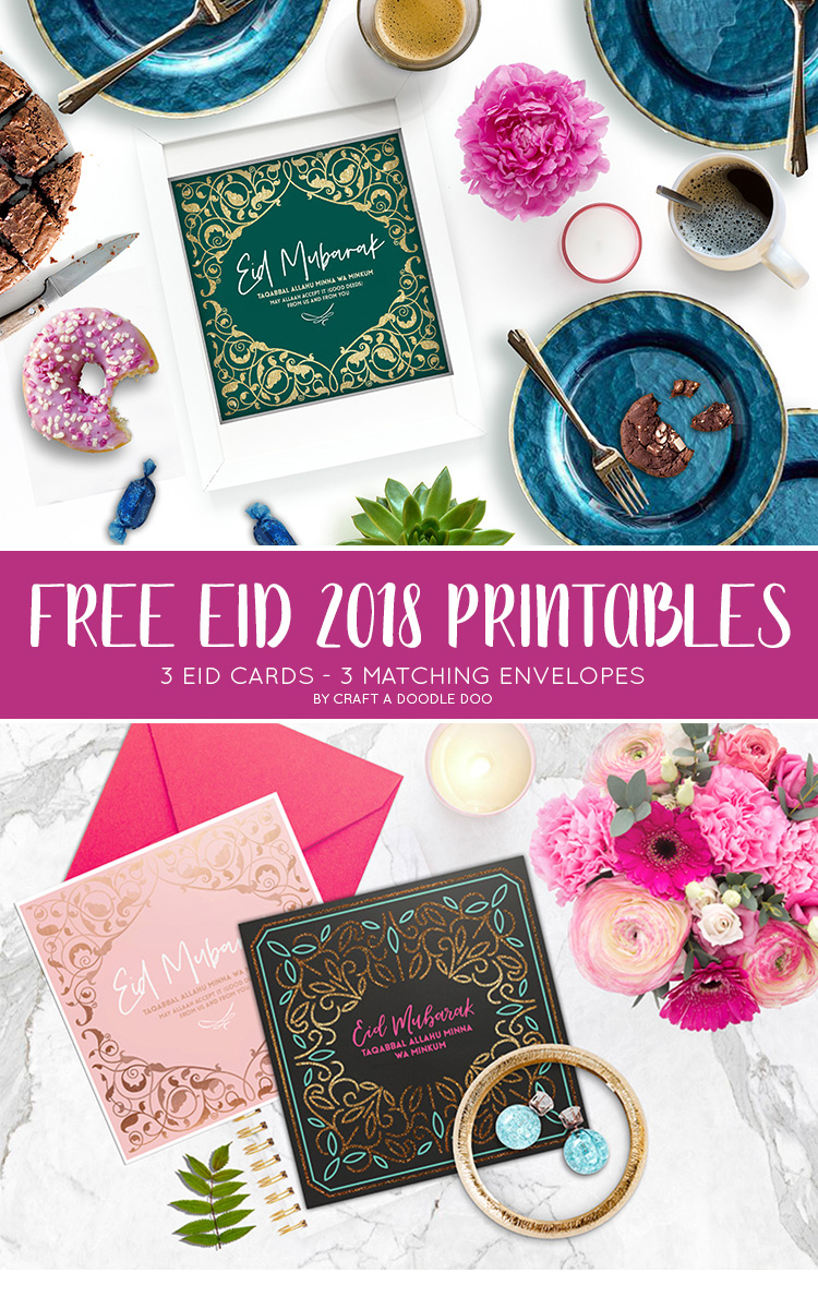 FREE EID PRINTABLES CARDS AND ENVELOPED BY CRAFT A DOODLE DOO #eid #ramadan #printables #freebies