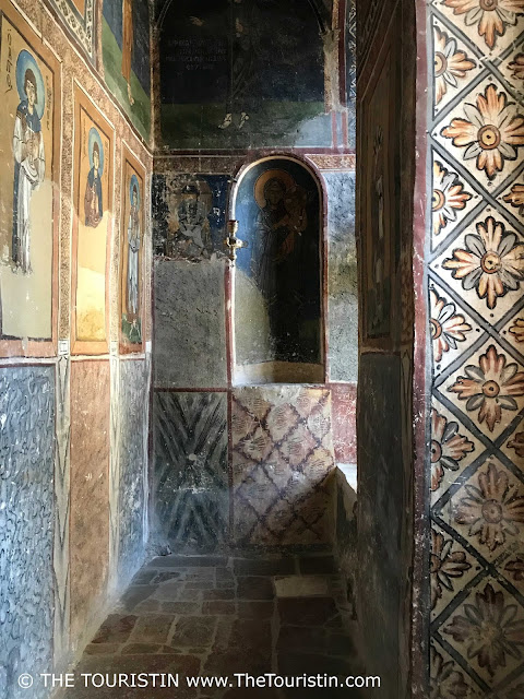 Interior decoration and wall paintings at Osiou Louka Unesco in Greece