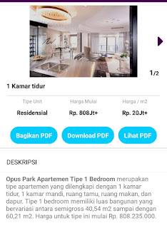 1 bed room Opus Park 0812 8969 2251