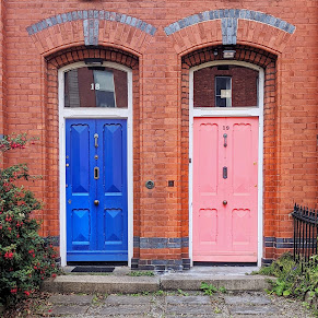 Blue and pink Dublin doors on Appian Way in Ranelagh
