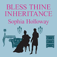 Bless Thine Inheritance audiobook cover. The silhouette of a Regency man standing the right, and a seatedand woman to his left.