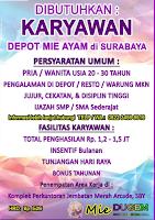 Loker Surabaya Terbaru di Mie Dugem (Duduk Gembira) Desember 2019