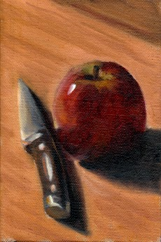 Oil painting of a black-handled paring knife beside a red apple, viewed diagonally from above.