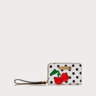 Floozie by Frost French white spotted cherry medium ziparound purse